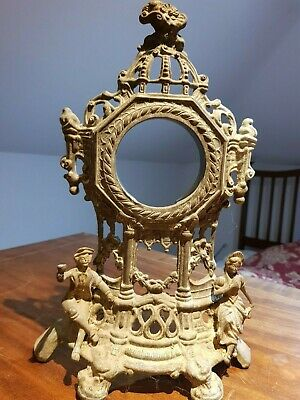 Vintage cast  metal clock part -ornate face