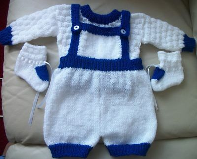 Hand Knitted Baby Romper Suit Royal Blue & White