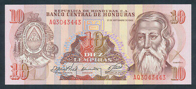 "Honduras: 21-9-1989 10 Lempiras ""ONE-YEAR TYPE"". Pick 70a UNC Cat $17"