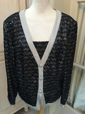 "Gina bacconi womens  black sequinned jacket size large/ / chest 44-46"" bnwt"