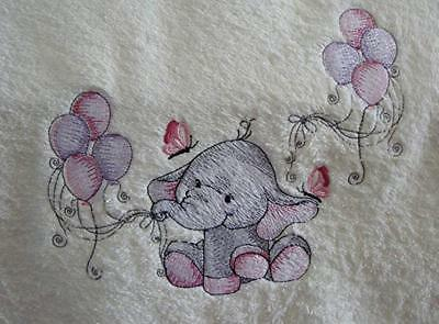 Baby Girl hand towel, Baby shower gift, embroidered Hand towel, Baby Elephant