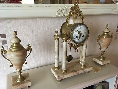 French Marble Mantle Clock With Garniture & Bell Chime