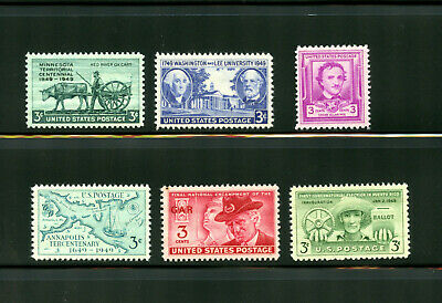 L742 U.s Commemorative Year Set 1949 6 Stamps 981-986 Mint Nh