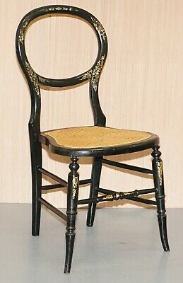 Very Rare Regency Circa 1810 Ebonised Berger Rattan Mother Of Pearl Side Chair