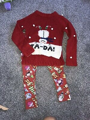 Girls NEXT christmas Jumper And Leggings Outfit Set 8 Years Red