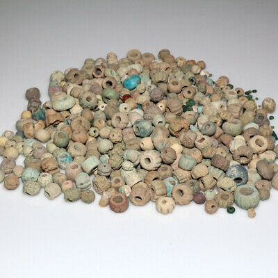 Top Lot Of 680 Ancient Egyptian Faience Glass & Bronze Beads Circa 2500-1900 Bc
