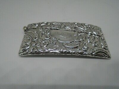 Antique Solid Silver Curved Card Case Birmingham 1901 Joseph Hawkins 31 Grams