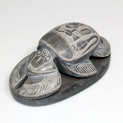 Scarce-Hand Made Egyptian Heavy Black Stone Decorated Seal Scarab Ca 1700-1800