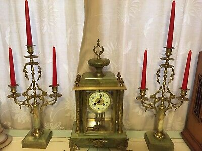 Stunning  Green Marble Mantle Clock Set With Candelabra & Gong Chime