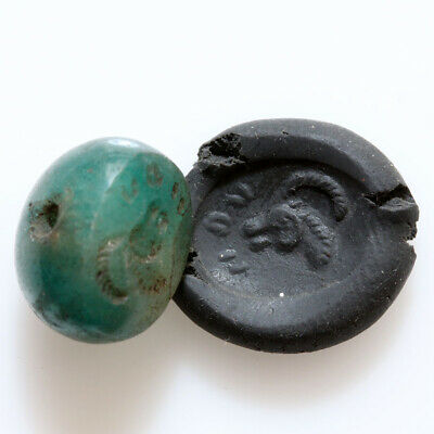 Circa 500-300 Bc Ancient Greek Green Gem Stone Seal Bead