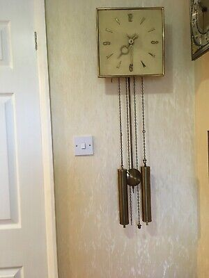 Dutch Bim-Bam Wall Clock With Cream  Dial &  Brass Hands & Large Brass Weights
