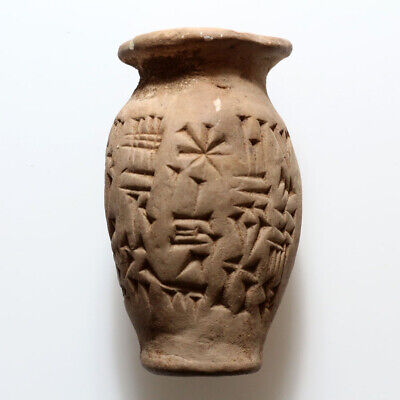 Very Rare Circa 2500-1000 Bc Near East Terracotta Vase With Inscriptions