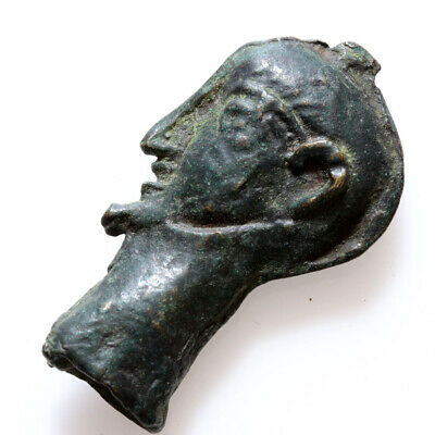 Roman Bronze Male Head Shaped Aromatic Bottle Amulet Circa 100 Ad
