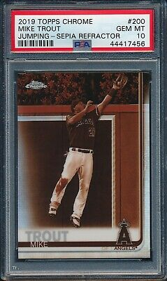 2019 Topps Chrome SEPIA REFRACTOR Mike Trout Jumping #200 PSA 10 ANGELS GEM MINT