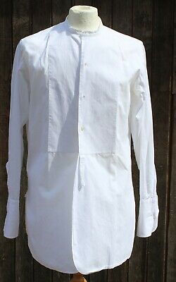 Vintage GIEVES White Collarless Evening Grandad Officers Shirt 15.5 ""