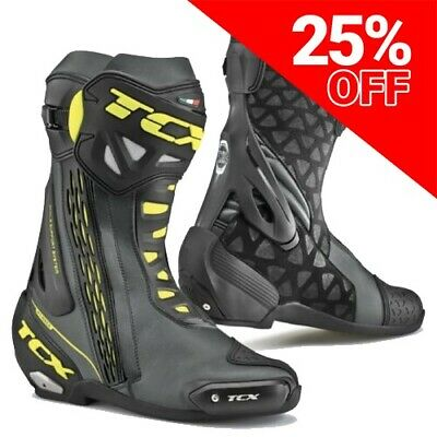 TCX RT-Race Motorcycle Sports Boots Black/Yellow