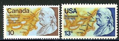 Bicentennial Franklin & The North Joint Issues with Canada MNH Scotts 691 & 1347