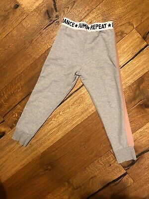 TU Girls Grey Dance Joggers With Pink Stripe Along Leg Age 6 /116cm Vgc