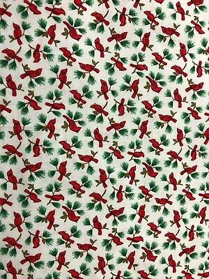 Winter Christmas Red Cardinals on Pine Branch w/ Pine Cones on White Fabric 33in