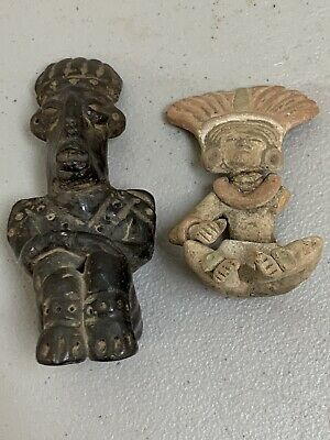 2 Pre-Columbian Mayan Stone Pottery Figural Blackware Pottery Figures