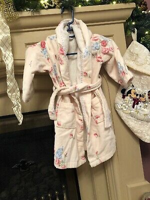 🌸 Girls The Little White Company Towelling Floral  Dressing Gown Robe 3-4 Years