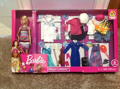 Barbie Dream Careers Set With Barbie Doll And 6 Outfits NEW IN BOX