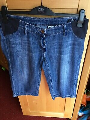 Next Maternity Size 10 Blue Denim Shorts Adjustable Waistband Pre Loved
