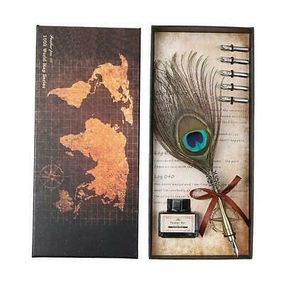 Retro Peafowl Feather Dip Pen Writing Ink Set Fountain Pens Stationery Gift F07#