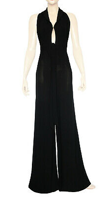 Vintage 1970s Black Halterneck Wide Leg Flared Trousers Jumpsuit UK 4 / UK 6