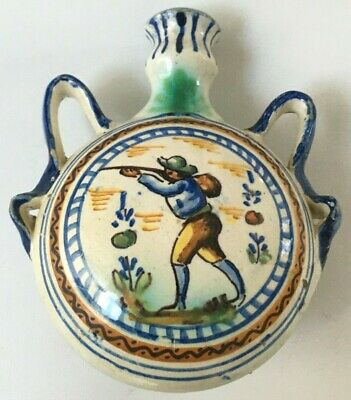 Beautiful Antique 19Th-Century Pilgrim's Flask Spanish Faience Hunting Scenes
