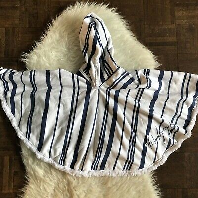 The Beach People Childrens Petite Poncho White Blue Stripe Polka Dots