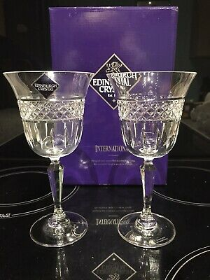 "RARE LARGE EDINBURGH CRYSTAL INTERNATIONAL X 2 WINE GLASSES 7""  18 Cm TALL Boxed"