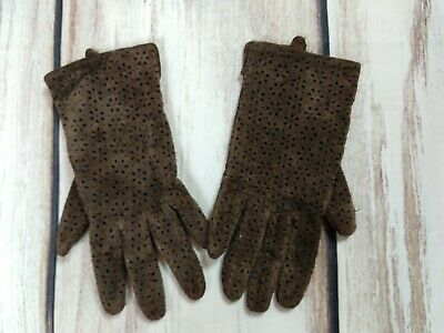 Vintage Genuine Suede Leather Brown Lazercut Gloves BHS Size Small Brown