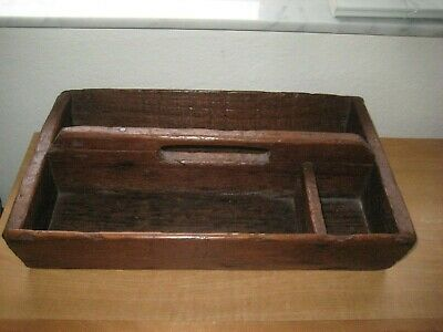 Antique - Primitive Divided Wood / Silverware Tray Caddy