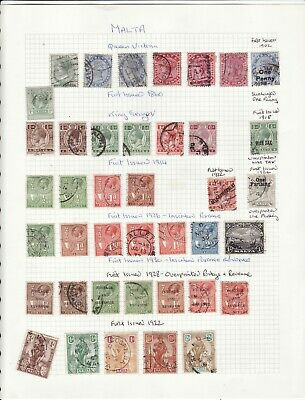 Malta - Qv/Gv About 40 Used Stamps Some Duplication/Mixed Condition