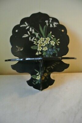 """Antique Victorian Black Lacquer Wall Shelf Wooden Hand painted Bird Flowers 11"""""""