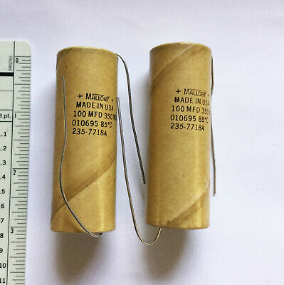 2 NOS Mallory Capacitors 100 MFD @ 350 VDC for Fender Amps