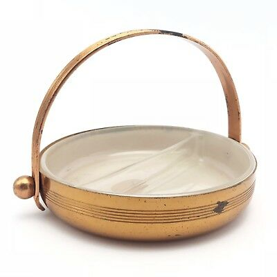 Copper Bowl / Dish with Divided Glass Insert by Chase Copper & Brass