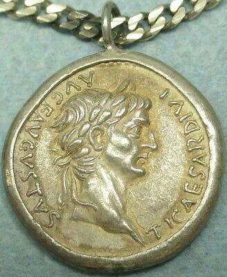 Roman Silver Coin Pendant W/ Sterling Silver Necklace, Augustus