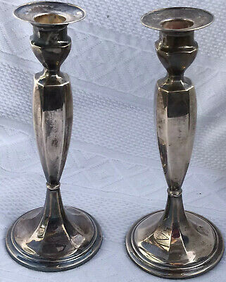 STERLING SILVER Candle Sticks ART DECO ERA High Quality Heavy Gauge Silver GORHA