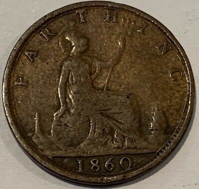 1860 Great Britain GB UK England Farthing Mule? Coin