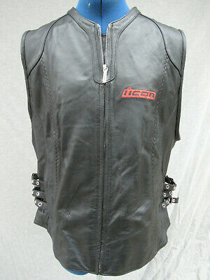 Womens XL Icon Bombshell R-GSX Suzuki Leather Vest Motorcycle Black