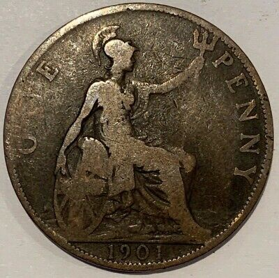 1901 Great Britain GB UK England Victoria Old Portrait Penny Coin