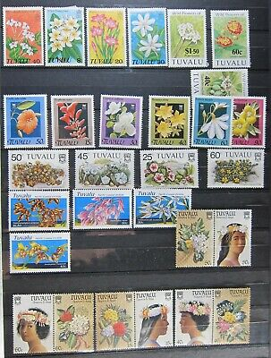 1397-19  29 Unused HInged Tuvalu Flower Stamps