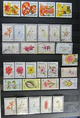 1401-19  30 Unused Hinged/Used Vanuatu Flower Stamps