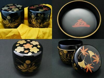 Japan Lacquer Wooden Tea caddy Spring and Autumn makie A pair of Natsumes (1118)