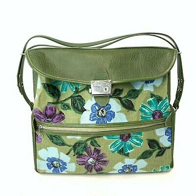 VINTAGE 1960's VENTURA Green Floral Tapestry Vinyl Luggage Travel Bag Carry On