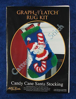 "Latch Hook Kit Candy Cane Santa Stocking Graph N' Latch MCG Textiles 12"" x 17"""