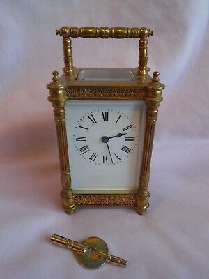 Rare Diette Hour Antique Elaborate  Timepiece Carriage Clock In Gwo + Key