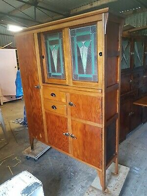 Art Deco Antique Leadlight Kitchen Dresser Restored Cabinet Cupboard C1930s